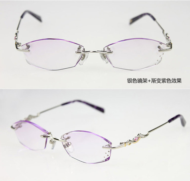 3e027801243 Female models diamond cutting reading glasses rimless glasses ...