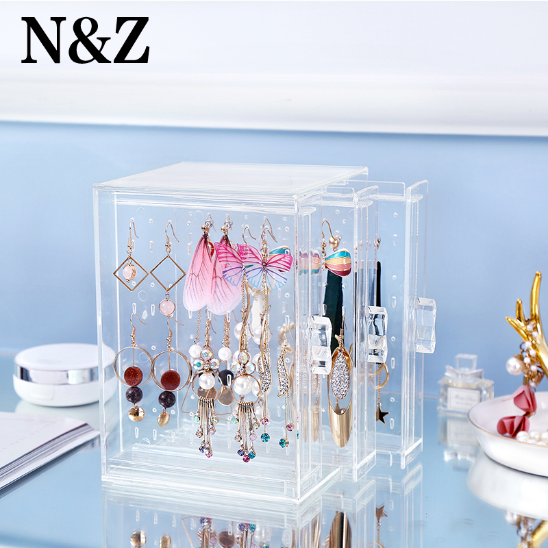N&Z New Transparent Crystal Jewelry Plastic PS Showing Shelf Necklace Bracelet Rack Earrings Hanger Nail Art Display Stand