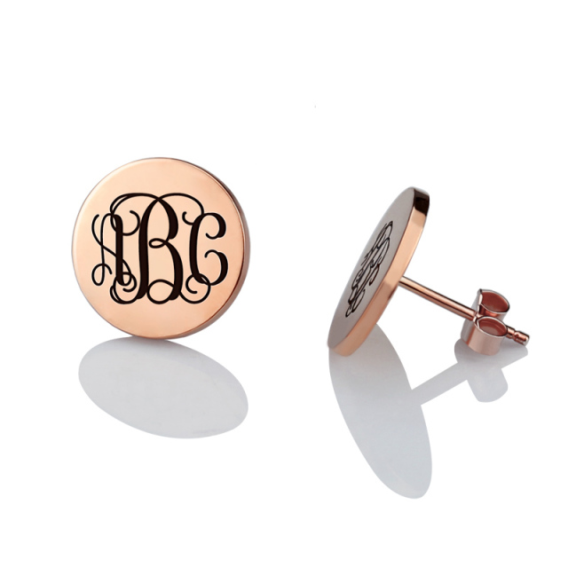 Personalized Monogram Stud Earrings Rose Gold Color Circle Engraved Initial For Women Best Gift