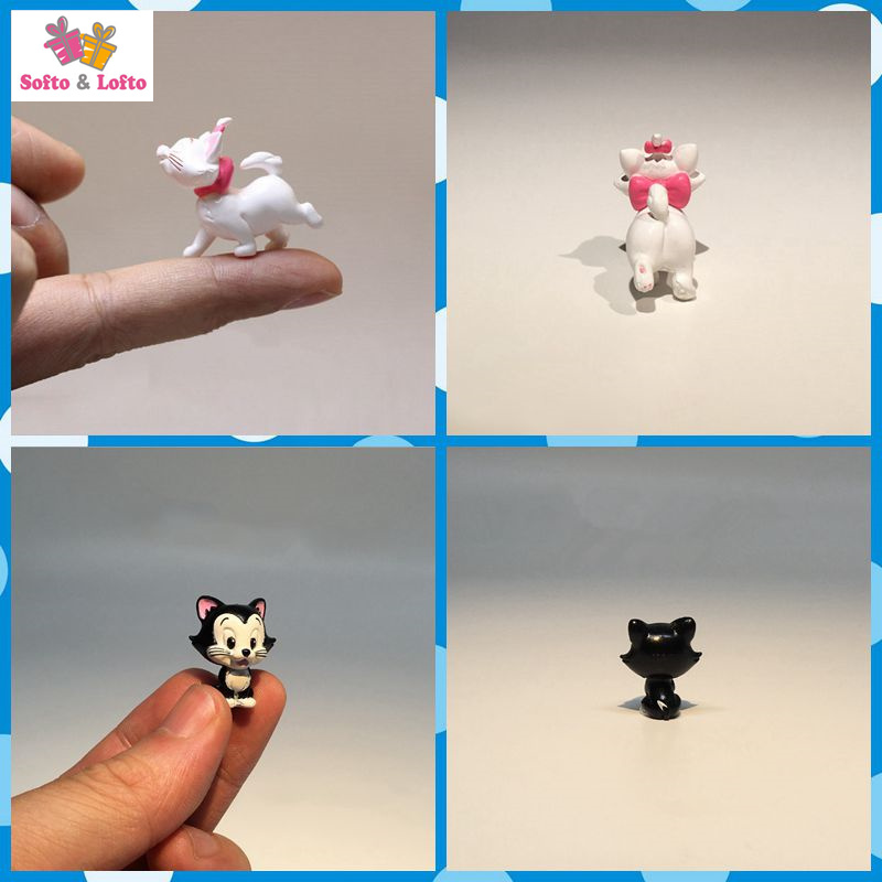 Free shipping 2pcs/lot White Black Cats Mini Figures PVC toy Mari Figa cake car party office home succulent plant decor gifts