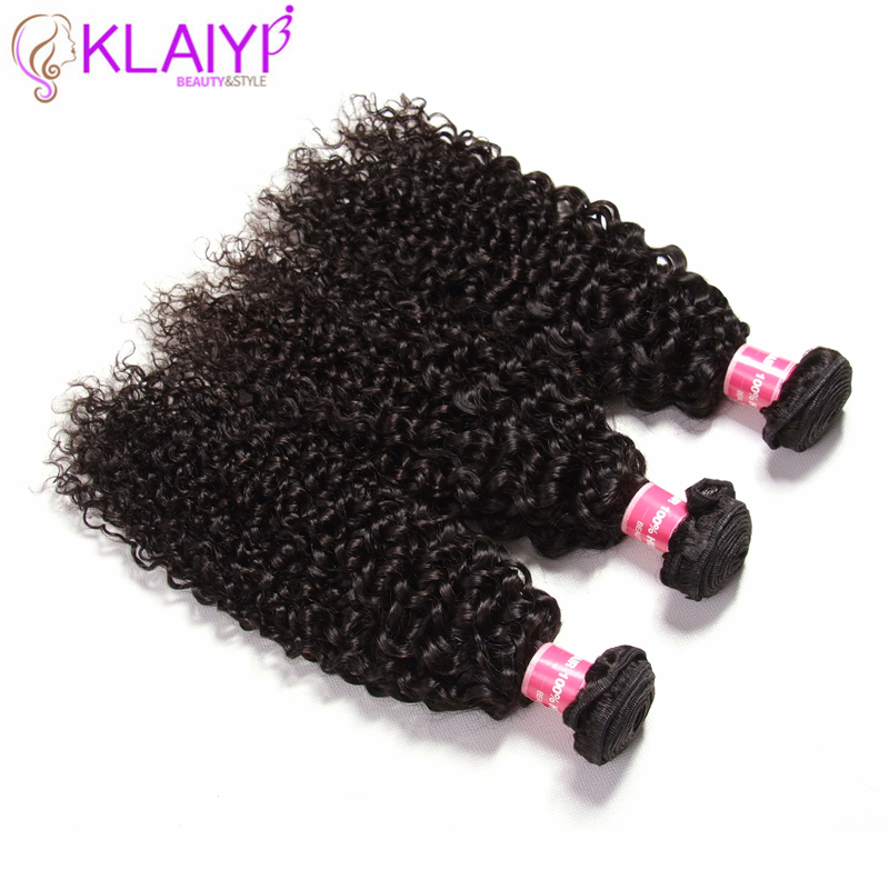Klaiyi Hair Malaysian Curly Weave Hair Bundles 100G/pcs Natural Color Real Human Hair Extension Remy Hair Wave Small Curl