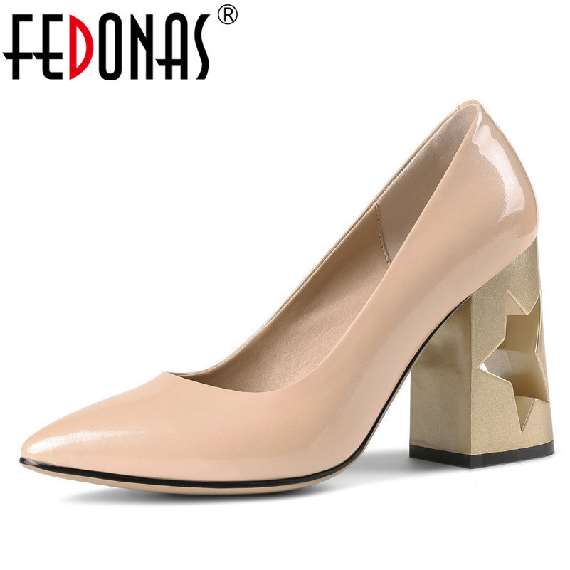 FEDONAS Fashion Women Cut outs High Heeled Pumps Sexy Pointed Toe Basic Pumps Super 9 5CM