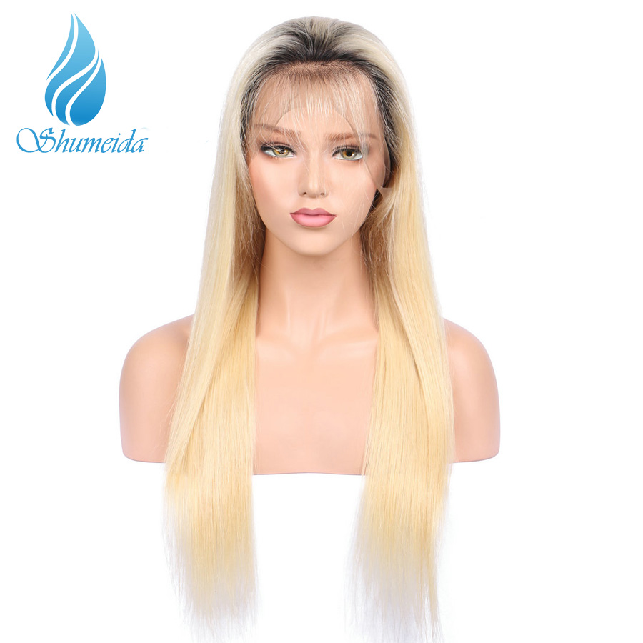 SHUMEIDA 1bT 613 Blonde Full Lace Wig Human Hair Remy Long Straight Ombre Human Hair Wigs