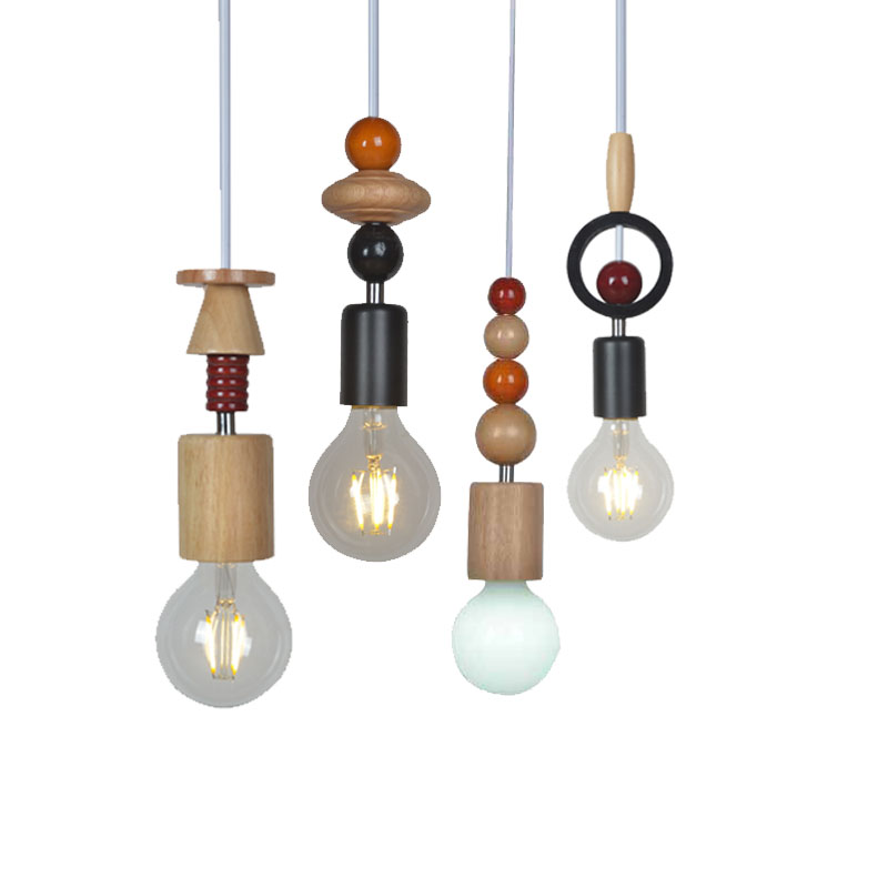 Nordic Wood Pendant Light Vintage Nature Oak Wooden Lamp Contemporary Beads Diy Droplight Handmade Artcraft In Lights From