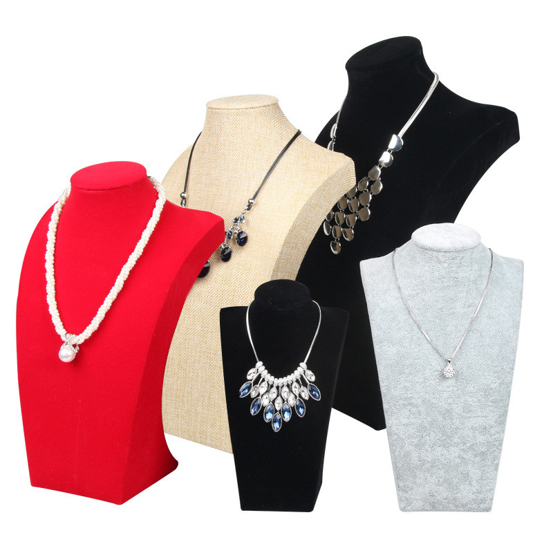 Mannequin Bust Velvet Suede Linen Jewelry Necklace Pendant Earring Display Stand Holder Stand