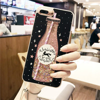 Drink Bottle Quicksand Case For Iphone 7 7Plus Dynamic Liquid Glitter Case For Iphone 6 6s