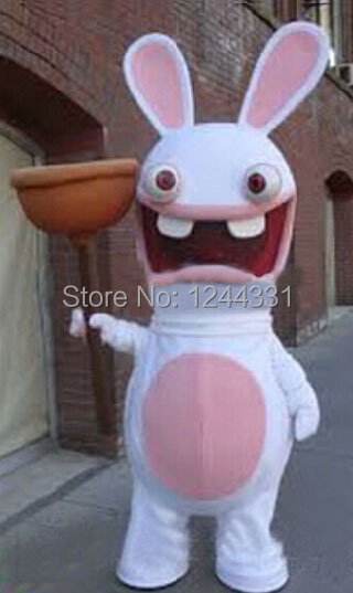 new professional pink rayman raving rabbit mascot costume cartoon carnival party costume free shipping - Raving Rabbids Halloween Costume