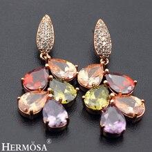 Фотография Hermosa Jewelry Rainbow Peridot Garnet Amethyst Morganite Mulit 925 Sterling Silver Stud Earrings HE003