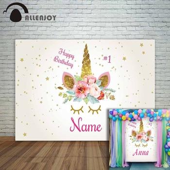 цены Allenjoy unicorn backdrops photocall custom star 1st birthday photozone newborn baby children Photo background photography props
