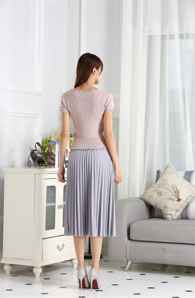 CRRIFLZ 19 Spring Autumn Fashion Women's High Waist Pleated Solid Color Half Length Elastic Skirt Promotions Lady Black Pink 6