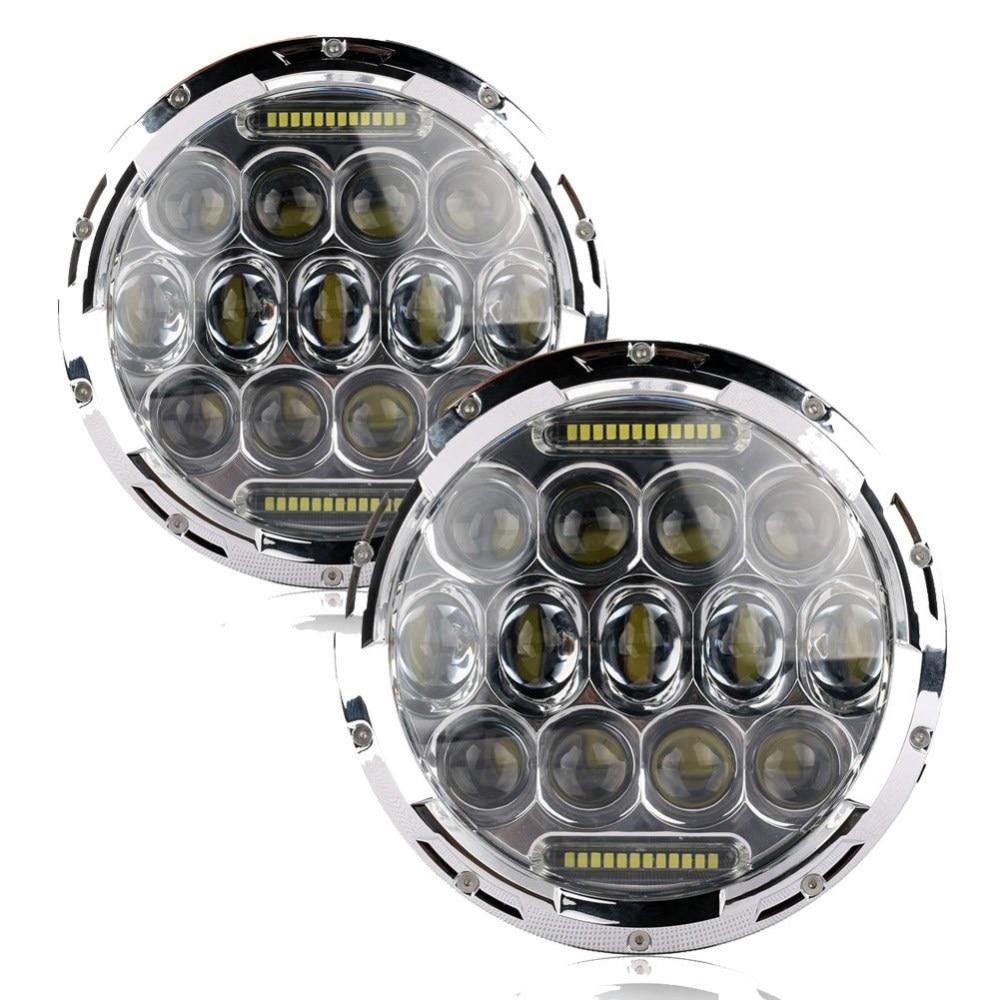 2 x 7 INCH 75W High/Low Dual Beam Car Light Source LED Headlight Bulb for Jeep Wrangler Hummer Camaro FJ (Silver) 12v led light auto headlamp h1 h3 h7 9005 9004 9007 h4 h15 car led headlight bulb 30w high single dual beam white light