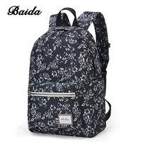 BAIDA Fashionable Black Floral Print Backpack Flower Pattern Women Back Pack School Bookbag Bags For Teenage
