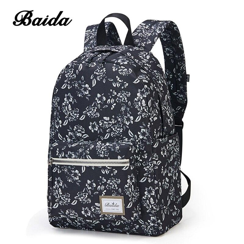 BAIDA Fashionable Black Floral Print Backpack Flower Pattern Women Back Pack School Bookbag font b Bags
