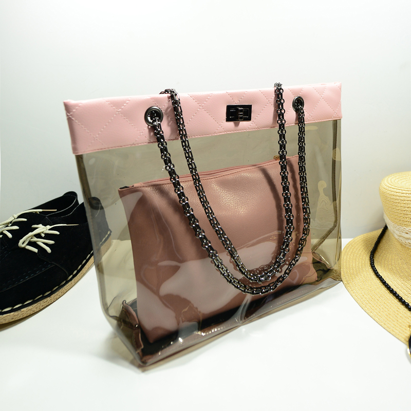 ZHIERNA New summer Korean chain single Shoulder Bag big Handbag fashion picture bags women jelly crystal Transparent Beach bag