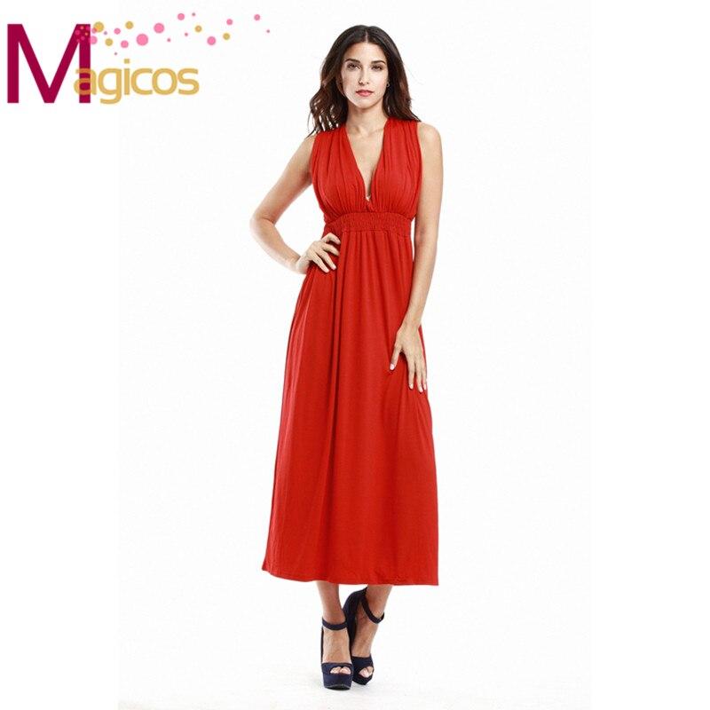 2016New Mulheres Verão Plus Size Vestidos Profundo Decote Em V Sexy Vestido Longo Senhoras Oversize Vermelho/Preto Maxi Vestidos XL-4XL