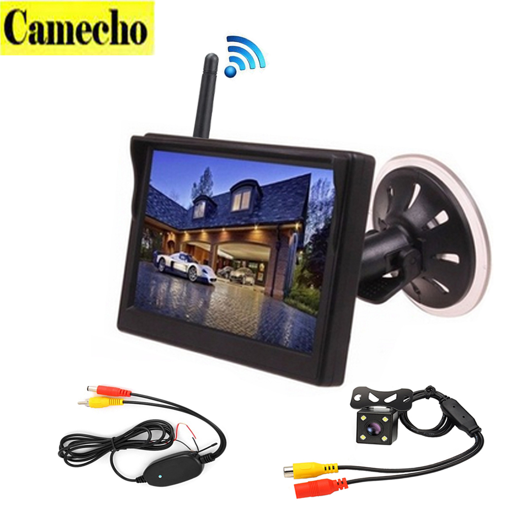 Wireless 5 inch Car Color Monitor Rear View Camera Auto Parking Assistance 4 LED Night Vision