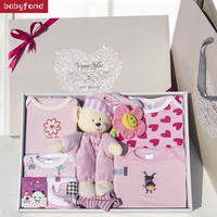 Newborn gift box 7pcs set 7 9 Months 0 3 Months 4 6 Months Cotton Animal Newborn Baby Clothes Gifts Toy Gift Set