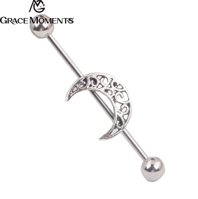 2pcs/lot GRACE MOMENTS Surgical Steel Piercing Jewelry Moon Ball Barbell Tongue Ear Ring Body Studs Piercing Pin Body Jewelry
