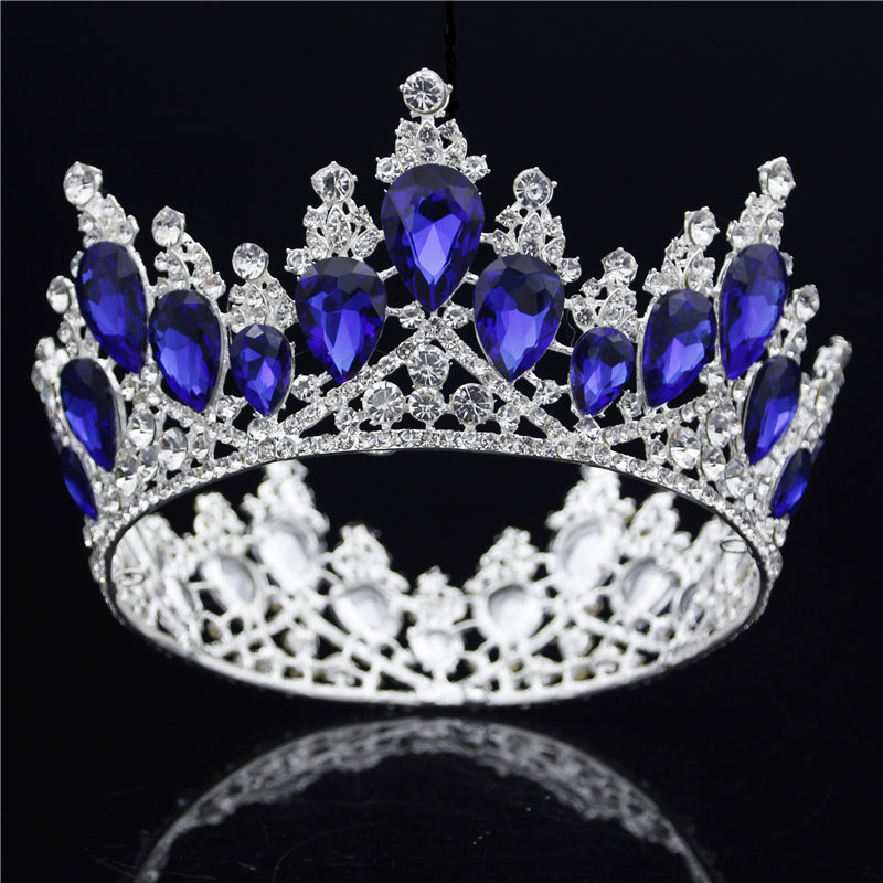 Baroque queen tiara crown Pageant Diadem Wedding Sparkling Tiaras and Crowns Ornament Prom hair jewelry accessories