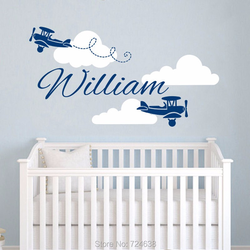 Airplane Wall Decal Vinyl Sticker Personalized Custom Name Clouds Decals Plane Kids Baby Nursery Boys Room Decor