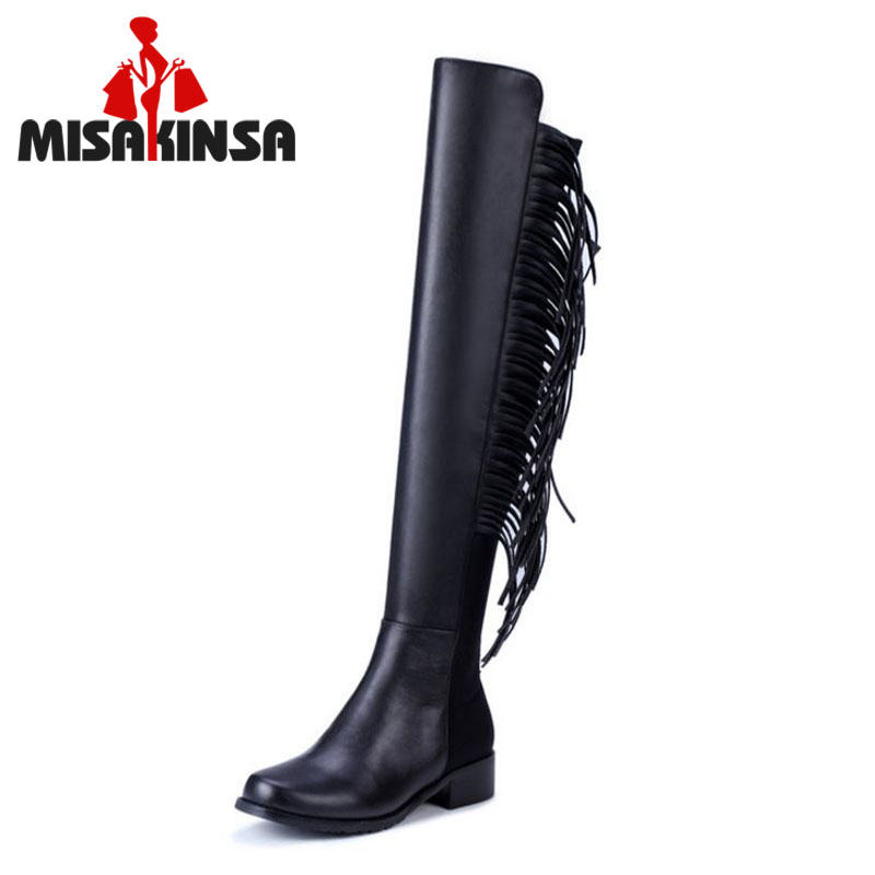 New Design Women Real Leather Over Knee Boots Woman Round Toe Flat Long Boot Fashion Tassel Flats Shoes Size 34-39 snow boots women half knee boot real genuine leather new fashion keep warm fur round toe shoes woman flats shoes size 33 43