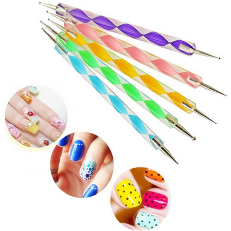 5PCS/pack 2Way Marbleizing Dotting Manicure Tools Painting Pen DIY Nail Art Paint Nail Art Dot Dotting Tool Nail Care