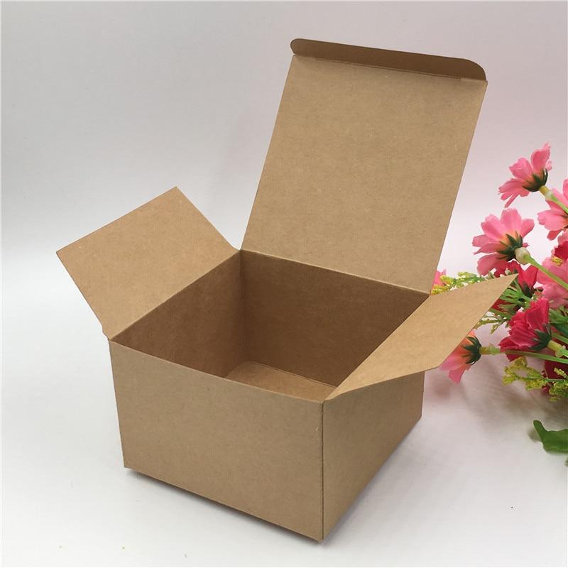 24pcs/50pcs/100pcs Natural Kraft Gift Packing Paper Box Blank Brown Sundries/necklace/petal Storage Carton