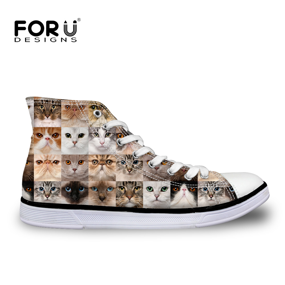 FORUDESIGNS 2017 Summer Brand Casual Women Shoes 3D Cat High Low Top Canvas Shoes For Ladies Flats Zapatillas Mujer Chaussure instantarts women flats emoji face smile pattern summer air mesh beach flat shoes for youth girls mujer casual light sneakers