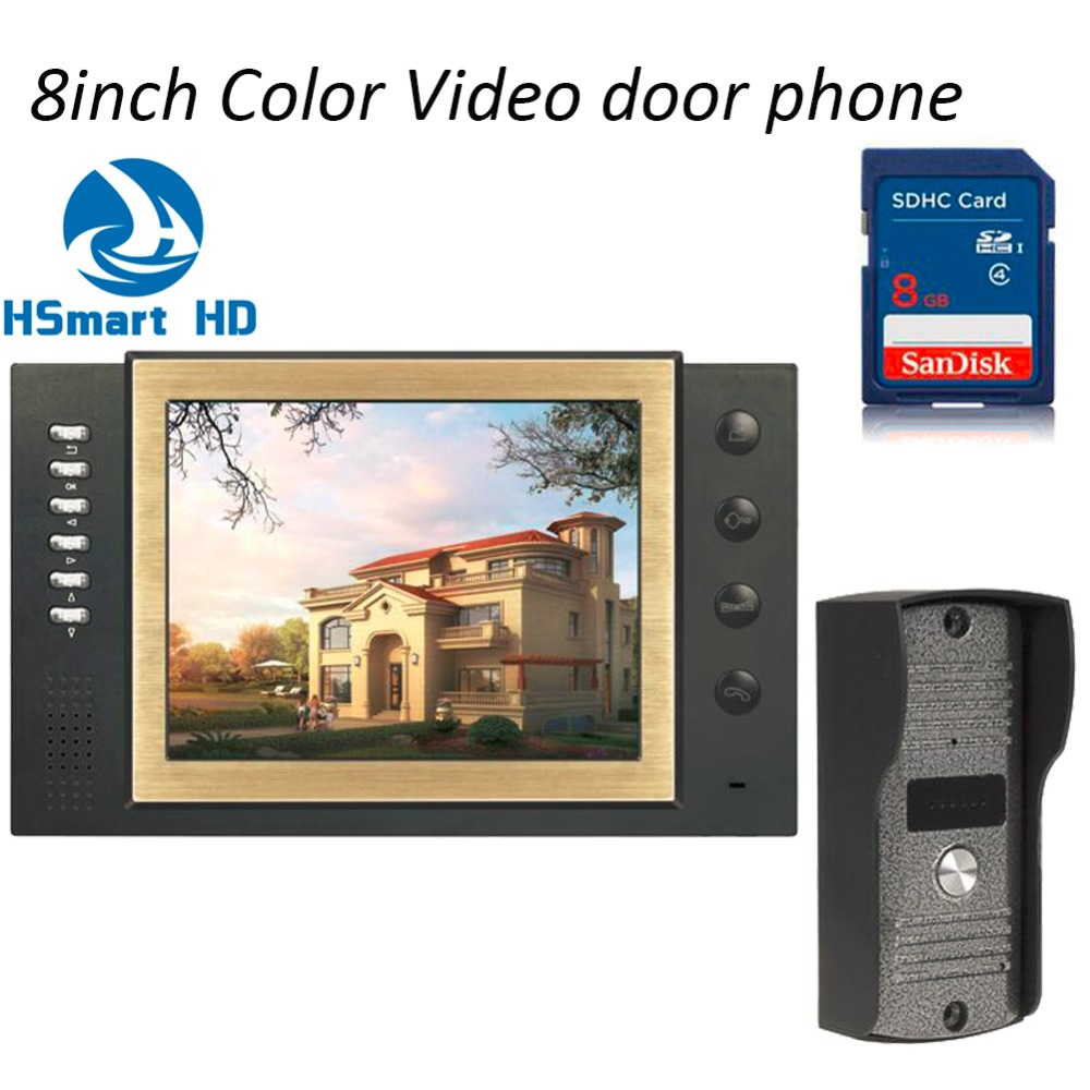 Wired 8GB SD Card Video Record Video Door Phone Doorbell Intercom System With 8 Color TFT LCD IR Camera lamagio 117 la