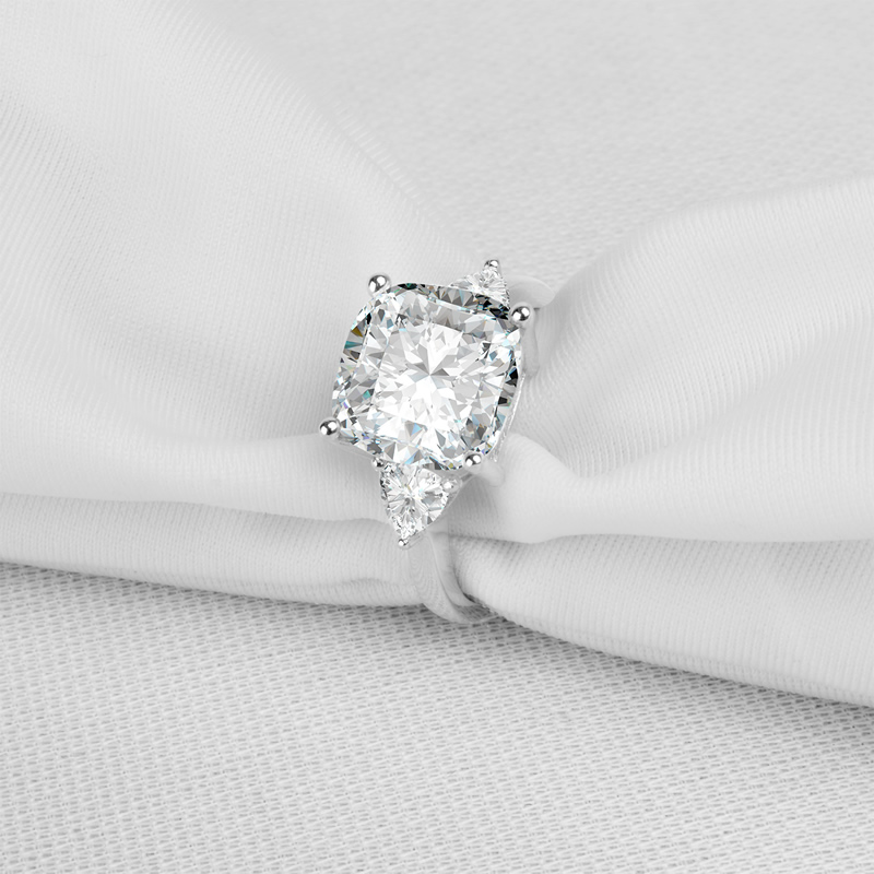 Big 5 Carat Cushion Square Cut Wedding Ring 3 Stones Rings 925 Sterling Silver Band Women Engagement Wedding Rings Wholesale In Rings From Jewelry
