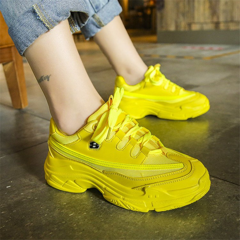 Lace-Up Platform Sneakers Women 2019 Spring Autumn Fashion Sweet Breathable Shoes Woman Sneakers Orange Casual Female Shoes