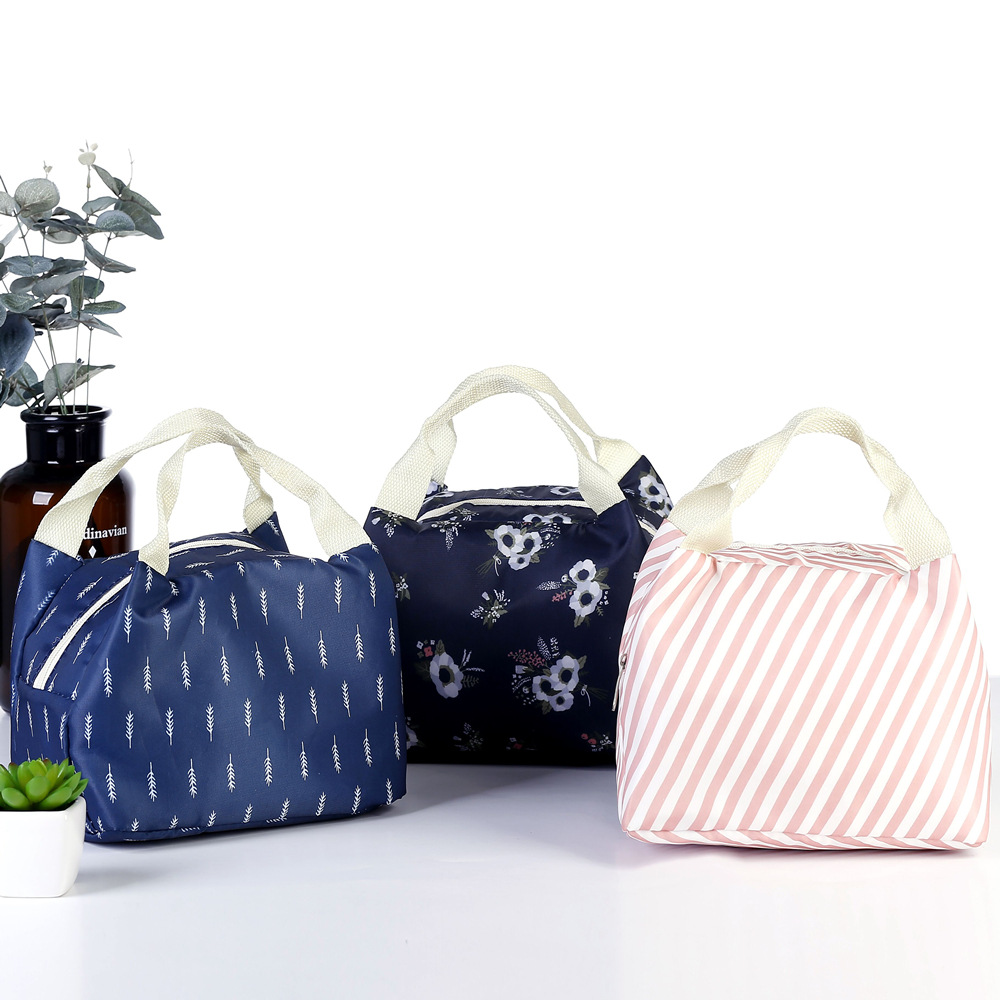 Striped Dot Portable Lunch Bag Thermal Insulated Cold Keep Food Safe Warm Lunch Bags For Girls Women