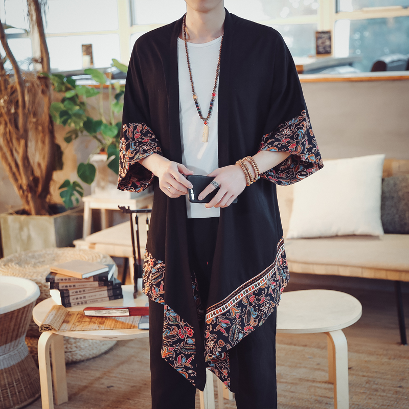 Traditionnelles Vêtements Nouveau Style 003 Chinois Manteau 002 Arrivent Imprimé Cache Hommes National poussière Printemps Robe Été 001 Masculines Cardigan rpXqA0p