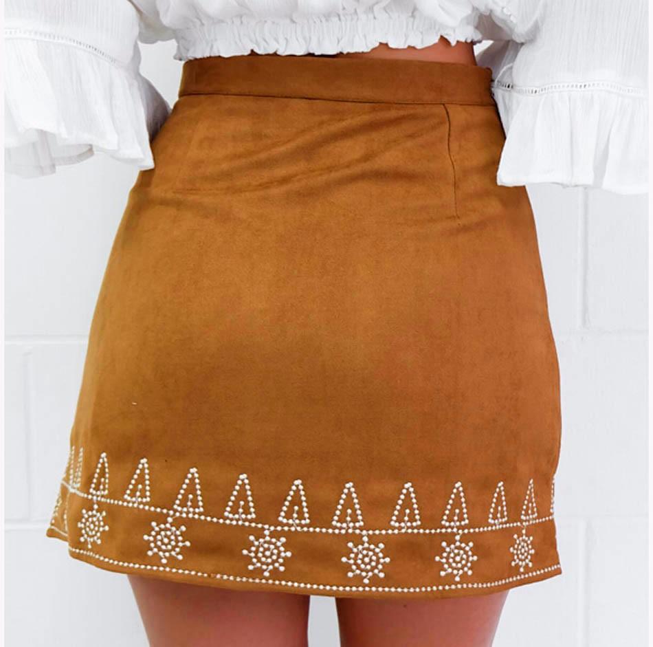 HTB17iaWNpXXXXX2aXXXq6xXFXXXU - FREE SHIPPING  Embroidery Suede A-line Skirt Black Brown Mini Skirts JKP350