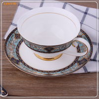 1setElegant Luxury Style Beatiful Gift High Bone China Cup Plate Drinkware Afternoon Tea Porcelain Coffee Cup
