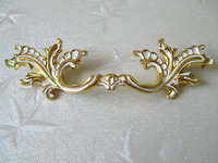3 3 4 96 Mm Dresser Pulls Drawer Pull Handles Gold White Leaf Rustic Cabinet Handle