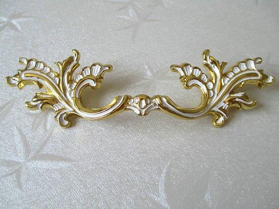 3 34 96 mm dresser pulls drawer pull handles gold white leaf rustic cabinet handle pull ornate vintage furniture decorative - Decorative Drawer Pulls