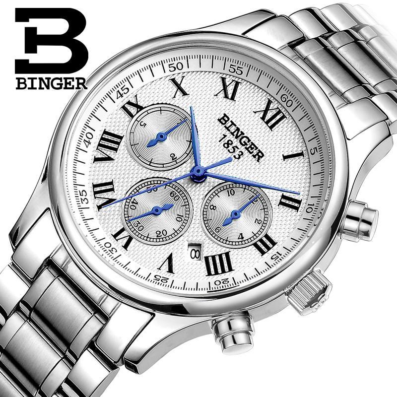 Switzerland men's watch luxury brand Wristwatches BINGER Mechanical Wristwatches full stainless steel Waterproof B6036-15 binger 100