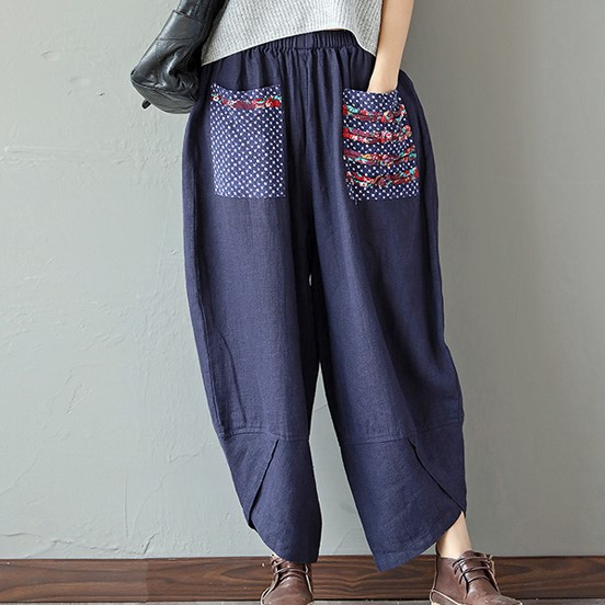Ethnic Vintage Elastic Waist   Wide     Leg     Pants   Women Trousers Cotton Linen Loose Ankle-length Casual Palazzo Trousers X90