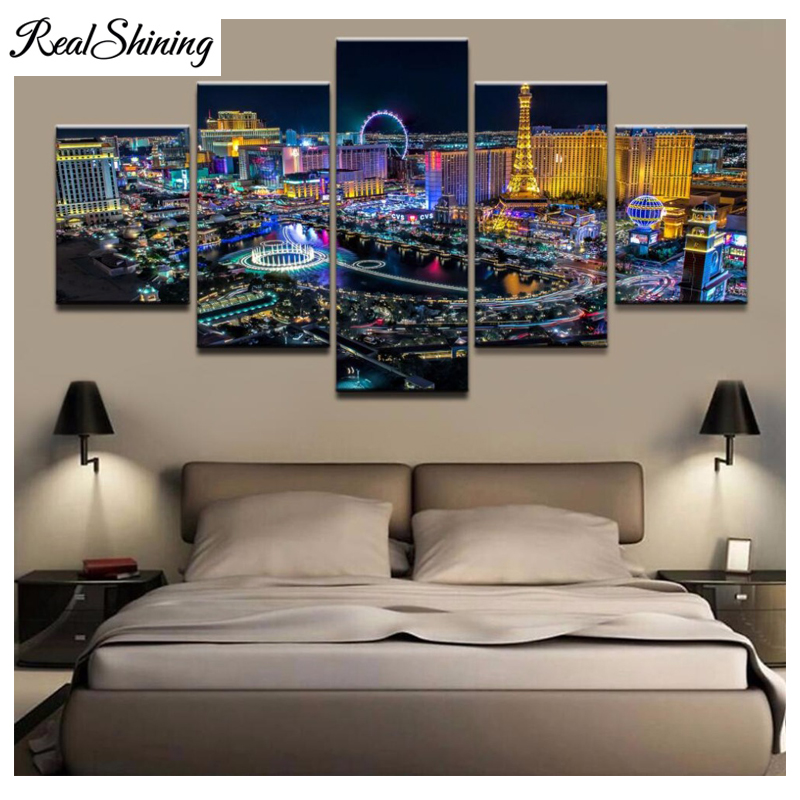 REALSHINING diamond embroidery Las Vegas Night view 5d diy diamond painting full diamond mosaic picture of