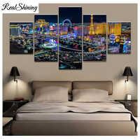 REALSHINING diamante bordado Las Vegas vista nocturna 5d diy diamante pintura completa diamante cuadro de mosaico de diamantes de imitación FS1611