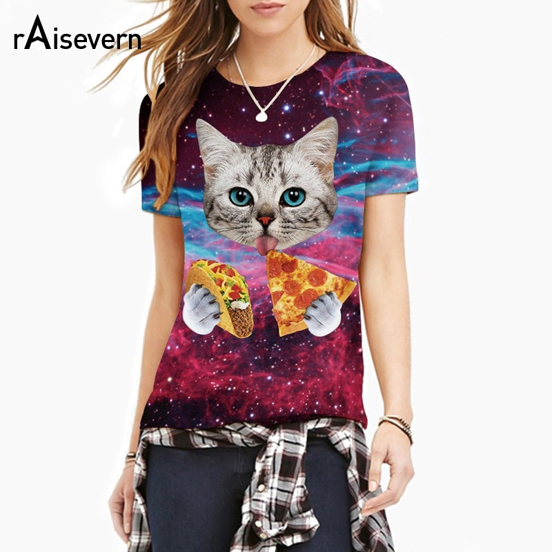 Raisevern 2018 New Galaxy Space 3D T Shirt Lovely Kitten Cat Eat Taco Pizza Divertente Top Tee Manica corta Camicie estive