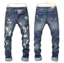 2017 spring fashion jeans hole men s jeans luxury brand ripped print straight denim trousers casual