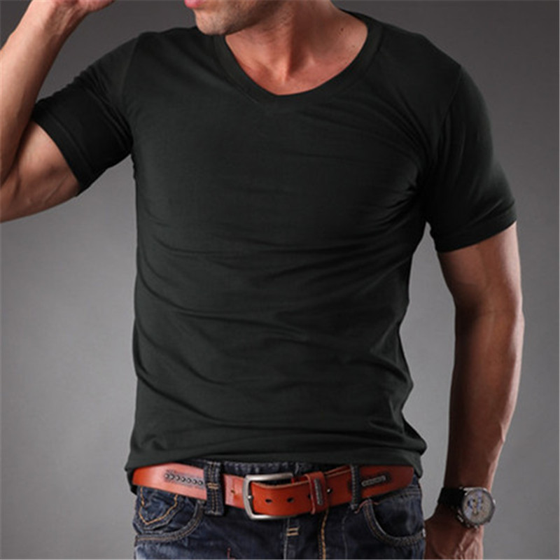 d04d36e8 Aliexpress.com : Buy RL Mens Body Muscle Fit Slim Fit Plain Blank t shirts  Men Stretchy White V Neck Good Quality 2019 Summer Mens Clothes MT 1353  from ...