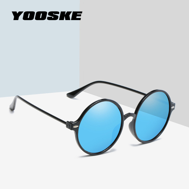 YOOSKE Fashion Round Sunglasses Women Vintage Metal Frame Men Sun ...