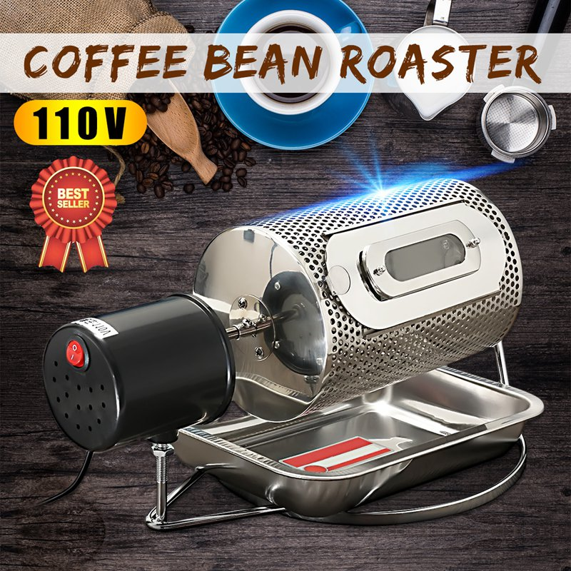 Warmtoo AC 110V Mini Stainless Steel Coffee Bean Electric Machine Roaster Roller Baker With Tray Small Electric Portable portable household electric coffee furnace oven mini 500w stainless steel small coffee stove stew pot cooker machine us eu plug