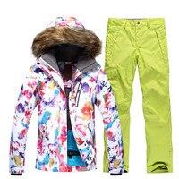 Новинка зимы Для женщин лыжный костюм супер теплый открытый спорт отдых для верховой езды Лыжный спорт Сноуборд костюм комплект куртка + Бр