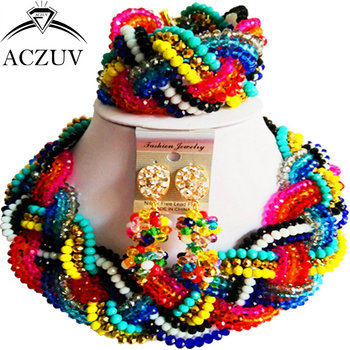 ACZUV Multicolor Crystal Fashion Jewelry Set for Women 2017 African Beads Nigerian Necklace Wedding Accessories A12R014