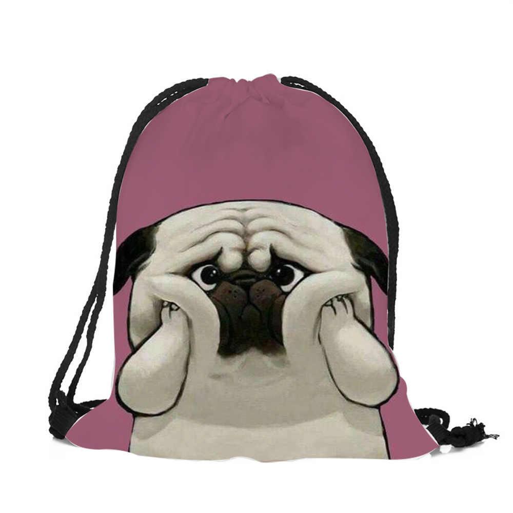 Розовый синий животный Хаски Мопс дизайн струнный рюкзак женские сумки из полиэстера с завязками для путешествий Обувь для хранения пыли сумка через плечо