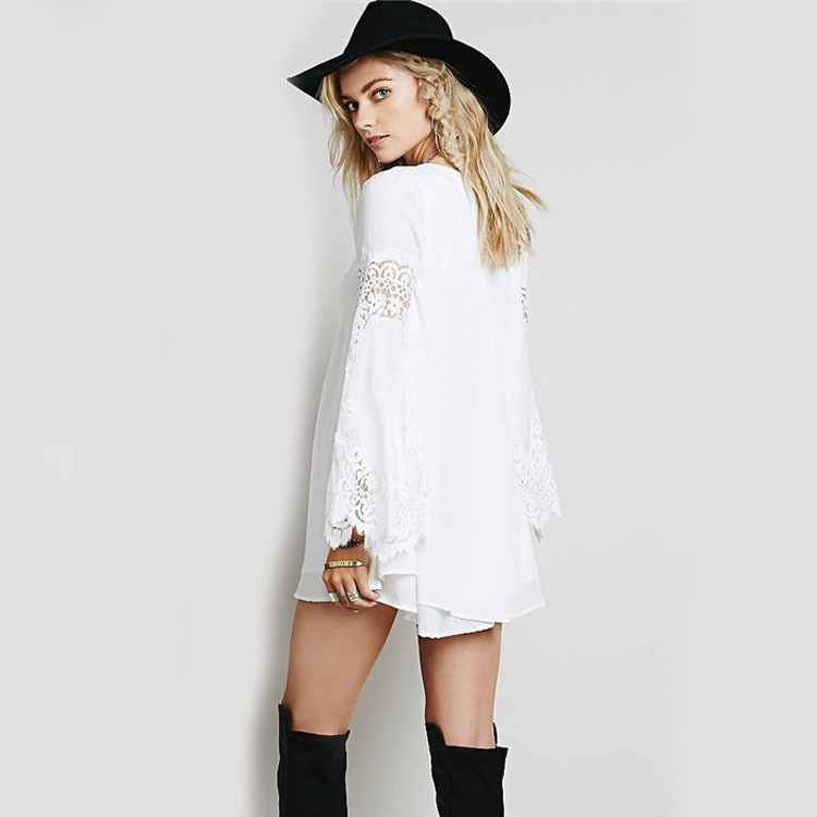 bda3097770 2018 Autumn chiffon stitching openwork lace loose long sleeve A word dress  fashion black white casual mini dress vestidos-in Dresses from Women s  Clothing ...